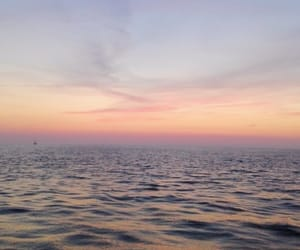 ocean, sunset, and lilac sky image