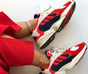 red sneakers, sneakers, and white sneakers image