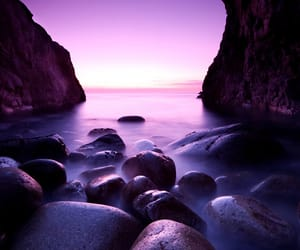 purple, rock, and sea image