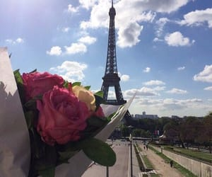 bouquet, eiffel tower, and flowers image