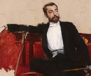beige, black, and man image