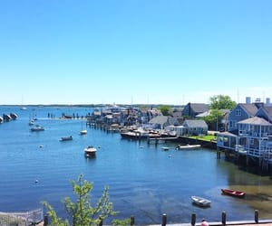 beach house, boats, and harbor image