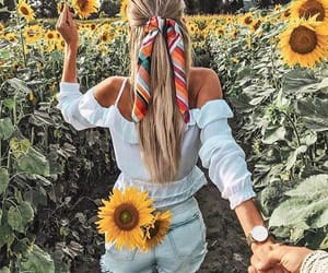 girl, goals, and sunflower image