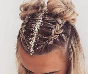 hair, braid, and glitter image