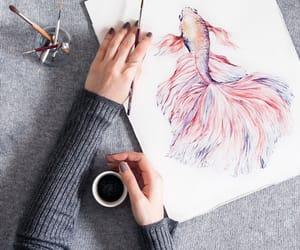 art, gold fish, and pink image