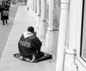 black and white, islam, and praying image