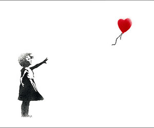 balloons, heart, and BANKSY image