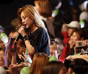 crowd, long brown hair, and jung wheein image