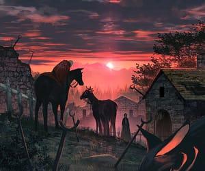 atardecer, ilustracion, and caballos image