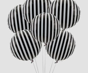 balloons, black and white, and stripes image