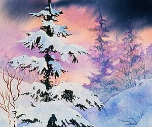 art, snow, and watercolor painting image