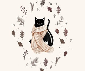 art, autumn, and cat image