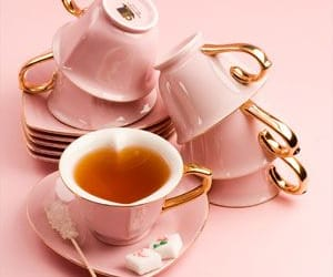 pink, tea, and cup image
