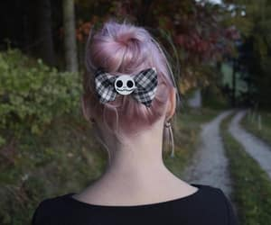 dyed hair, goth girl, and hairbow image
