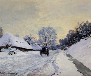 art, claude monet, and snow image