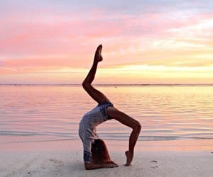 beach, sunset, and yoga image