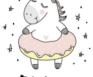 unicorn, background, and donut image
