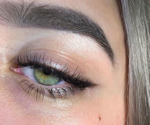 eye, eyebrows, and green image