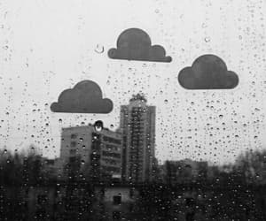 clouds, rain, and black and white image