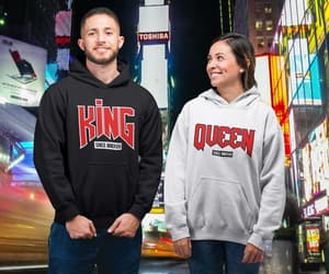 clothing, valentines day, and couple hoodies image
