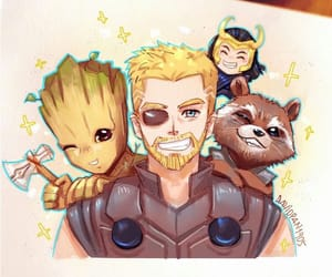 thor, loki, and groot image