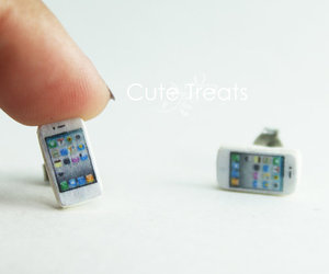 earrings, iphone, and studs image