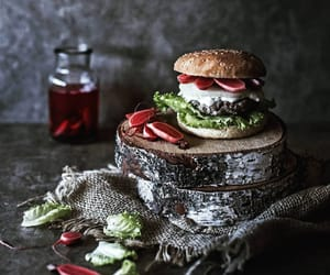 burger, pickle, and food styling image