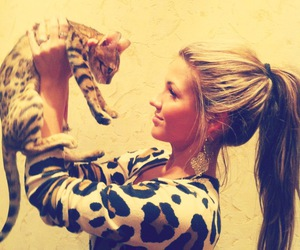 cat, girl, and leopard image
