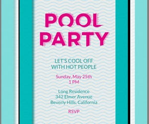 cards, invitation, and pool party image