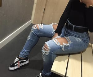 ripped jeans, black and white vans, and vans image