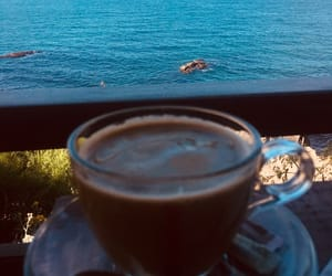 chillin, coffee, and sea image
