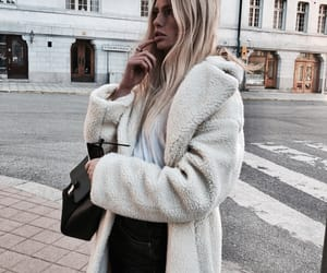 fashion, blonde, and coat image