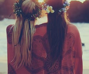 friends, summer, and flowers image
