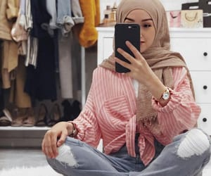 bed, hijab, and home image