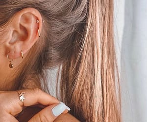 nails, blonde, and earrings image