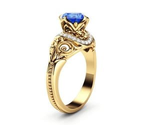 art deco, goldring, and sapphire engagement image