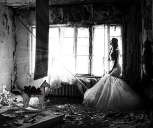 beautiful, black and white, and bride image