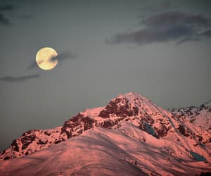 moon, mountain, and snow image