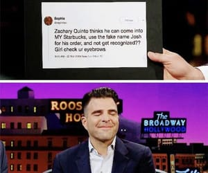eyebrows, zachary quinto, and funny tweet image