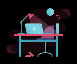 cartoon, color, and desk image