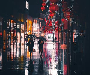 rain, red, and street image