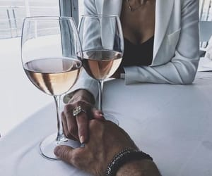 couple, wine, and lové image