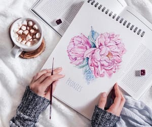 coffee, flowers, and watercolor image