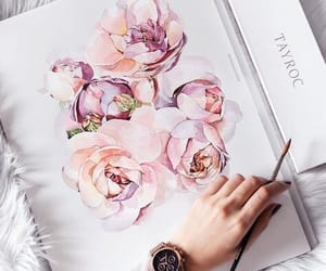 art, flowers, and peonies image
