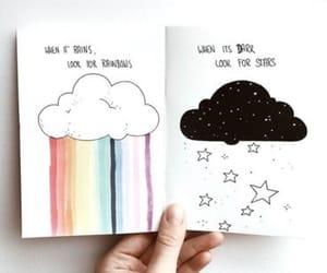 rainbow, drawing, and stars image