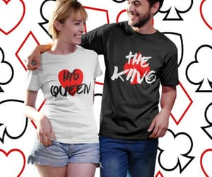 king queen, matching shirts, and just married shirts image