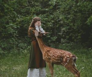 fantasy, girl, and deer image