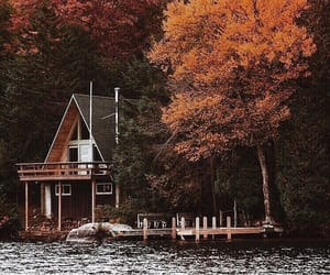 autumn, house, and river image
