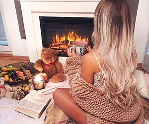 autumn, blonde, and book image