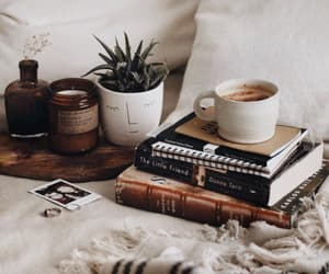 coffee, books, and plants image